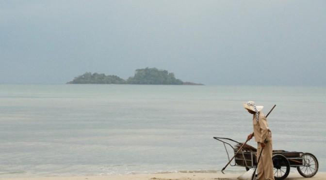 Man walking on the shore